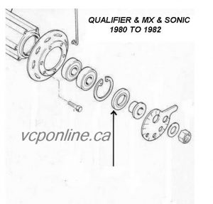 CAW009 Rear wheel seal QUALIFIER and MX 1980 to 1982 (LEFT side)